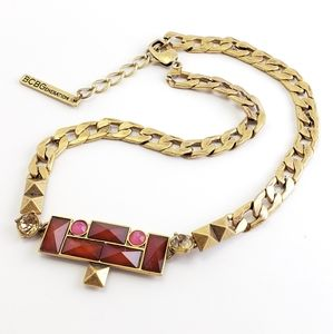 Jewelry - BCBGeneration Statement Necklace Red + Pink + Gold